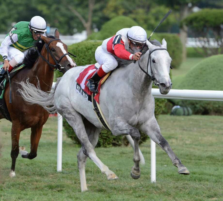 Hit it Rich with jockey Javier Castellano wins the 17th running of The Glens Falls on the final day of the race meeting at the Saratoga Race Course in Saratoga Springs, N.Y. Sept. 3, 2012.    (Skip Dickstein/Times Union) Photo: Skip Dickstein