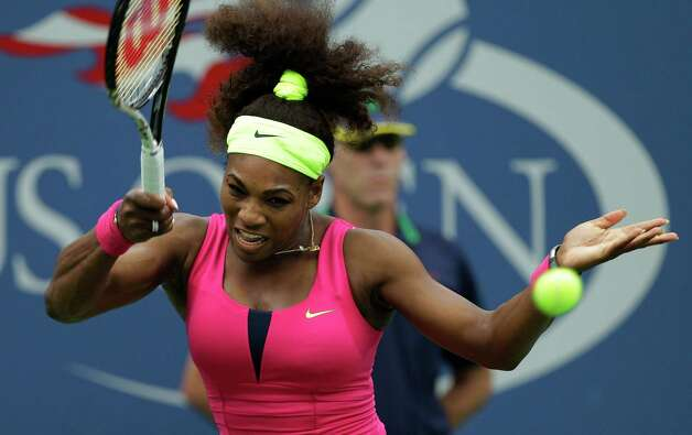 Serena Williams returns a shot to Czech Republic's Andrea Hlavackova in the fourth round of play at the 2012 US Open tennis tournament,  Monday, Sept. 3, 2012, in New York. (AP Photo/Kathy Willens) Photo: Kathy Willens