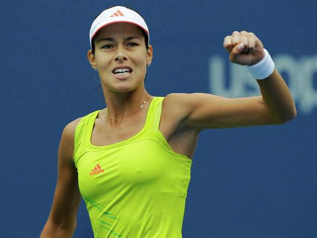 Serbia's Ana Ivanovic reacts during her match against Bulgaria's Tsvetana Pironkova in the fourth round of play at the 2012 US Open tennis tournament,  Monday, Sept. 3, 2012, in New York. (AP Photo/Kathy Willens) Photo: Kathy Willens