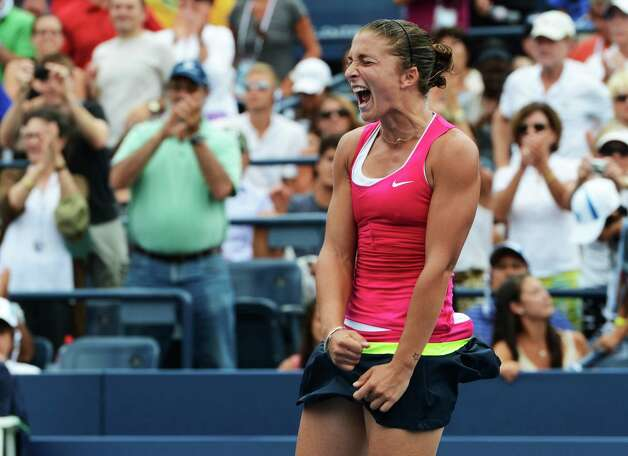 Italy's Sara Errani returns a shot to Germany's Angelique Kerber in the fourth round of play at the 2012 US Open tennis tournament,  Monday, Sept. 3, 2012, in New York. Errani won the match. (AP Photo/Henny Ray Abrams) Photo: Henny Ray Abrams