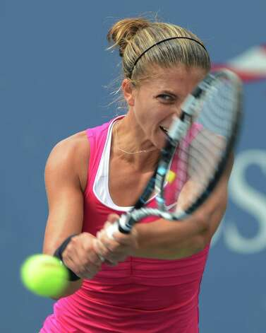 Italy's Sara Errani returns a shot to Germany's Angelique Kerber in the fourth round of play at the 2012 US Open tennis tournament,  Monday, Sept. 3, 2012, in New York. (AP Photo/Henny Ray Abrams) Photo: Henny Ray Abrams