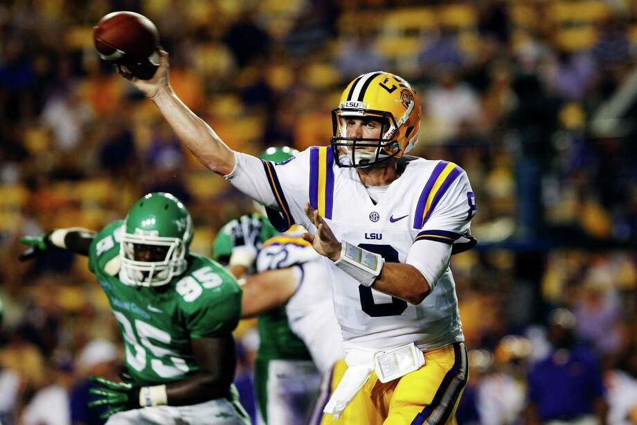 "9. North Texas (0-1) vs. Texas Southern: Mean Green briefly knocked out LSU QB Zach Mettenberger and ""held"" Tigers to 508 yards in a 41-14 loss that coach Dan McCarney called ""inexcusable."" Photo: Bill Haber, Associated Press / FR170136 AP"