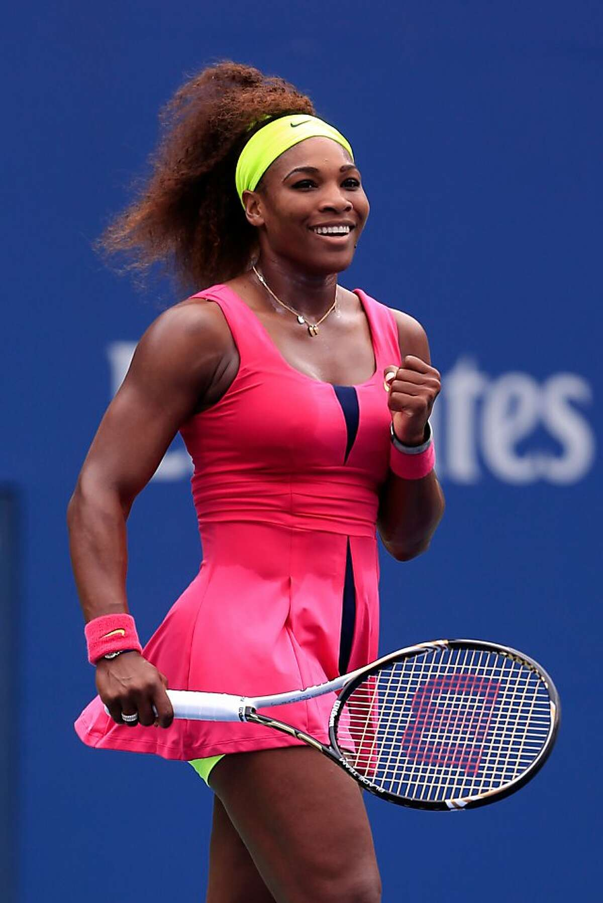 NEW YORK, NY - SEPTEMBER 03: Serena Williams of the United States reacts after defeating Andrea Hlavackova of Czech Republic during their women's singles fourth round match on Day Eight of the 2012 U.S. Open at the USTA Billie Jean King National Tennis Center on September 3, 2012 in the Flushing neighborhood, of the Queens borough of New York City. (Photo by Chris Trotman/Getty Images for USTA)