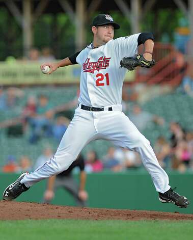 ValleyCats pitcher Brady Rodgers throws the ball during a baseball game against Hudson Valley at Joe Bruno Stadium Monday, Sept. 3, 2012 in Troy, N.Y. (Lori Van Buren / Times Union) Photo: Lori Van Buren