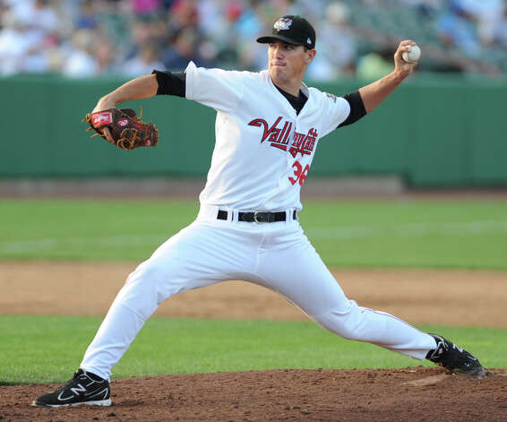 ValleyCats pitcher Brian Holmes throws the ball during a baseball game against Hudson Valley at Joe Bruno Stadium Monday, Sept. 3, 2012 in Troy, N.Y. (Lori Van Buren / Times Union) Photo: Lori Van Buren