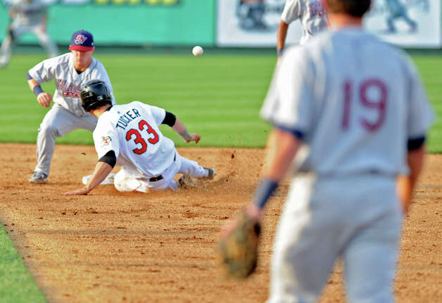 ValleyCats Preston Tucker is safe at second base as Hudson Valley second baseman Tommy Coyle misses the throw during a baseball game at Joe Bruno Stadium Monday, Sept. 3, 2012 in Troy, N.Y. (Lori Van Buren / Times Union) Photo: Lori Van Buren