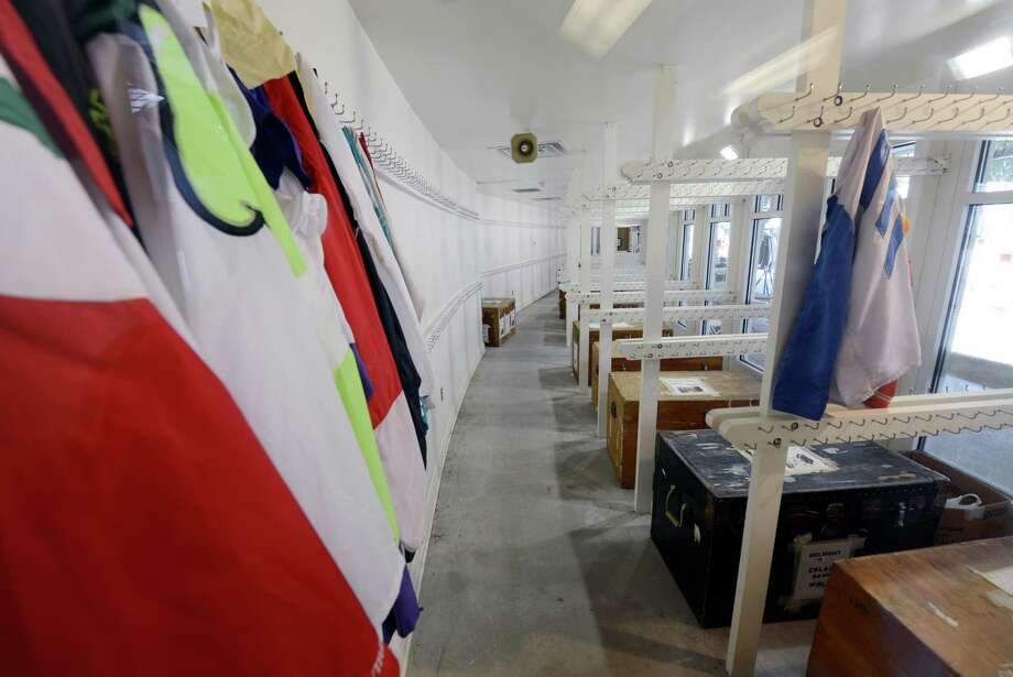 The silks room is all packed up except for the colors that will be used in the final day of racing at the Saratoga Race Course in Saratoga Springs, N.Y. Sept. 2, 2012.   Racing will continue later in the week for the Fall Meeting at Belmont Park in Elmont, N.Y.   (Skip Dickstein/Times Union) Photo: Skip Dickstein / 00019066A