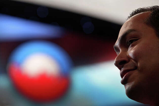 Mayor Julian Castro is interviewed in front of the stage where he will give his keynote speech during the Democratic National Convention at Time Warner Cable Arena in Charlotte, NC on Monday, Sept. 3, 2012. Photo: Lisa Krantz, San Antonio Express-News / San Antonio Express-News