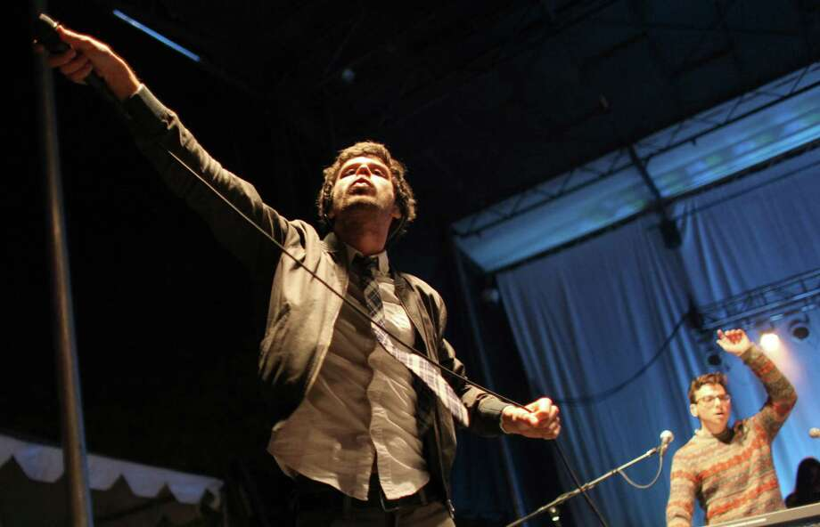 Michael Angelakos of Passion Pit performs on the Fisher Green Stage. Photo: JOSHUA TRUJILLO / SEATTLEPI.COM