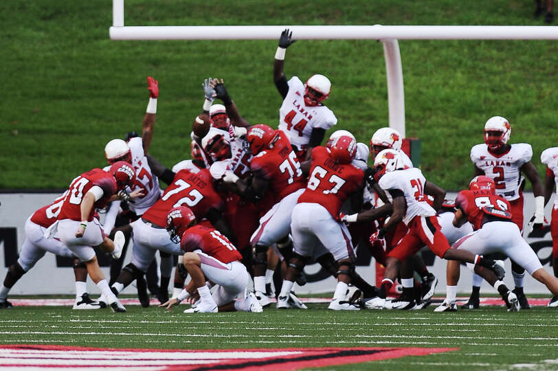 Lamar cannot shutdown ULL kicker Brett Baer at Lafayette on Saturday, September 1, 2012. Photo taken