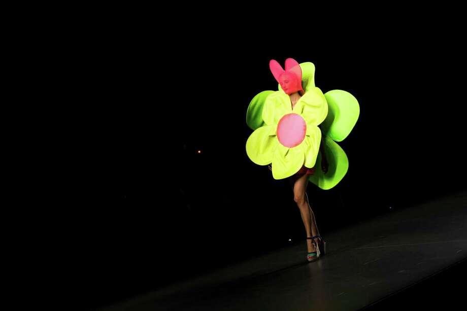 A model displays an Spring/Summer design by Agatha Ruiz De La Prada during the Madrid's Mercedes Benz Fashion Week, in Madrid, Friday, Aug. 31, 2012. Photo: Daniel Ochoa De Olza, AP / AP