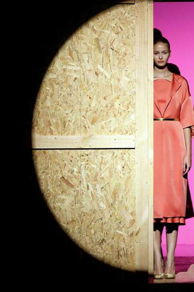 A model displays an Spring/Summer design by Duyos during the Madrid's Mercedes Benz Fashion Week, in