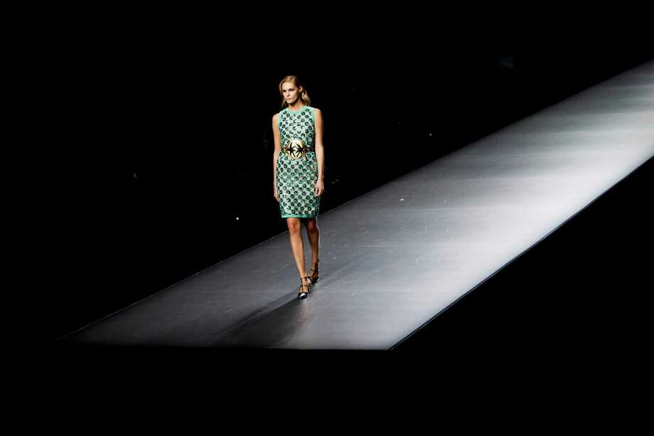 A model displays an Spring/Summer design by Miguel Palacio during the Madrid's Mercedes Benz Fashion Week, in Madrid, Saturday, Sept. 1, 2012. Photo: Daniel Ochoa De Olza, AP / AP