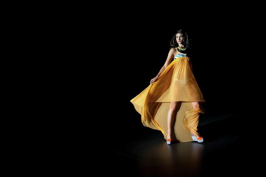 A model displays a  Spring/Summer design by Guillermina Baeza during the Madrid's Mercedes Benz Fash