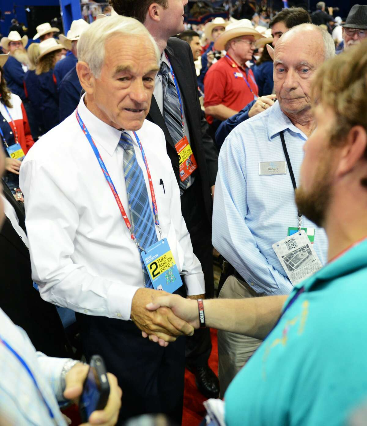 Rep. Ron Paul (R-TX/14) greets convention attendees at the second session of the 2012 Republican National Convention at the Tampa Bay Times Forum in Tampa, Tuesday, August 28, 2012. (Lionel Hahn/Abaca Press/MCT) (Lionel Hahn / McClatchy-Tribune News Service)