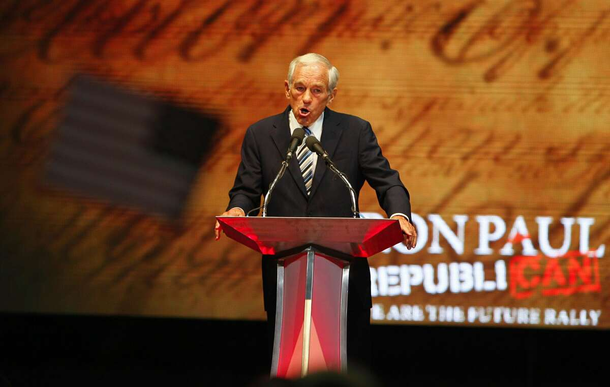 Rep. Ron Paul (R-Texas) speaks during his We are the Future Rally at the University of South Florida Sun Dome on Sunday, August 26, 2012, in Tampa, Florida. (Daniel Wallace/Tampa Bay Times/MCT) (Daniel Wallace / McClatchy-Tribune News Service)