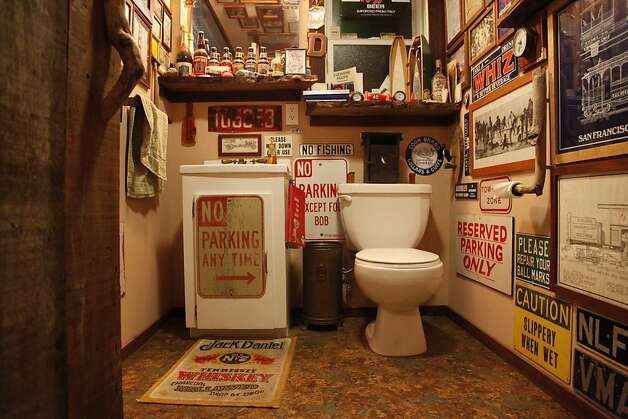 Basement bar dazzles s f visitors sfgate for College bathroom ideas