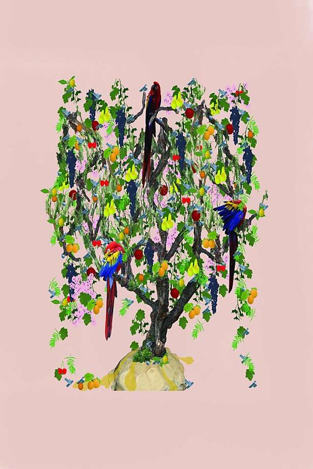 Ranu Mukherjee  Tree of Life (Schinus molle), 2012  48 3/8 x 79 3/4 inches  Ink on cotton and silk Photo: Ranu Mukherjee