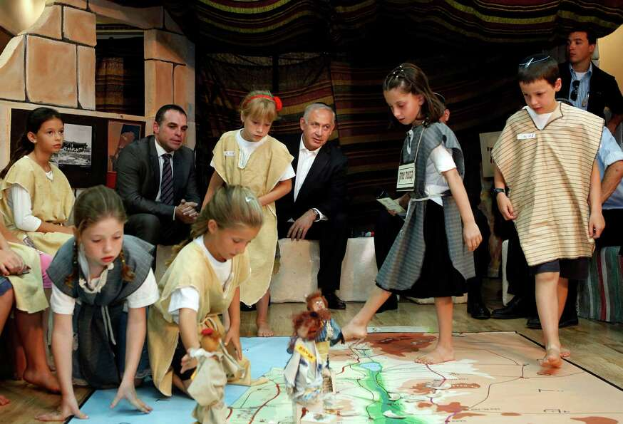 In a more overtly political move, Israeli Prime Minister Benjamin Netanyahu watched pupils play an i