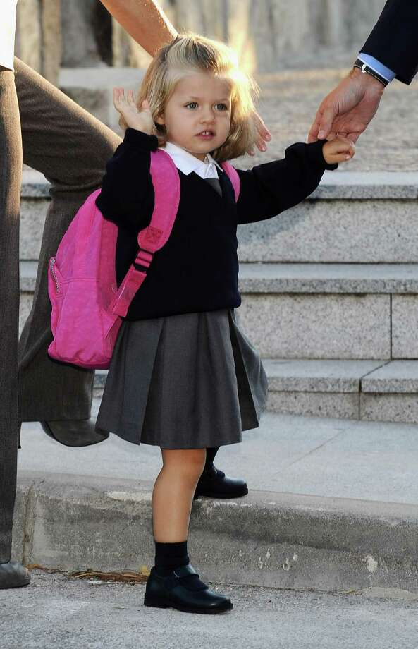 Spain's Princess Leonor arrives at school on her first day  with parents Crown Prince Felipe and Princess Letizia on September 15, 2008 at Santa Maria de los Rosales School in Aravaca, near Madrid. Photo: Carlos Alvarez, Getty Images / 2008 Getty Images