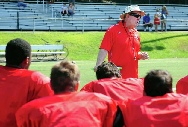 Fairfield Prep coach Tom Shea talks to players following a preseason scrimmage against Fairfield Ludlowe High School Saturday, Sept. 1, 2012 at Alumni Field in Fairfield, Conn. Photo: Autumn Driscoll / Connecticut Post