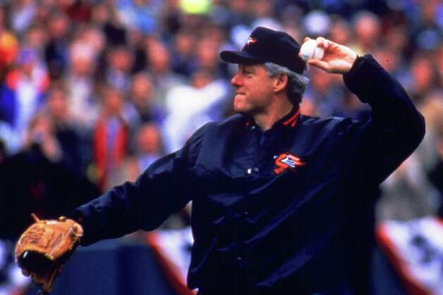 1992: Bill Clinton throws out the first pitch of the 1992 MLB season in Baltimore. Photo: Scott Wachter, Getty Images / Getty Images North America