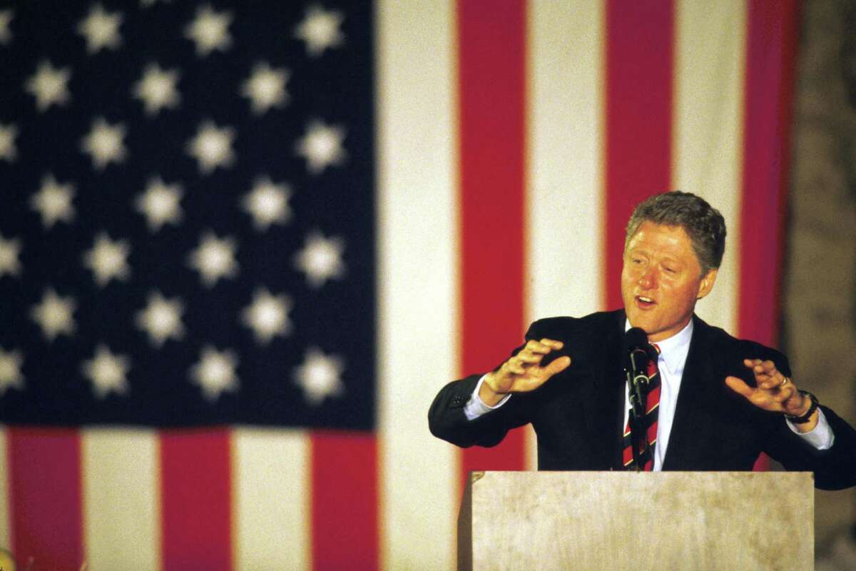 1992: Presidential candidate Governor Bill Clinton (D-AR) speaks on the final weekend of his campaign in Springfield, OH.
