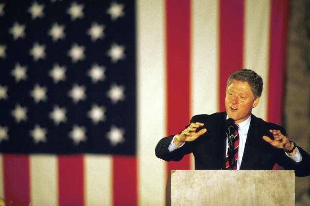 1992: Presidential candidate Governor Bill Clinton (D-AR) speaks on the final weekend of his campaign in Springfield, OH. Photo: Mark Lyons, Getty Images / Getty Images North America