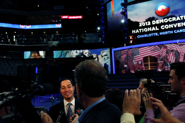Mayor Julian Castro is interviewed at Time Warner Cable Arena as he prepares for the start of the Democratic National Convention in Charlotte, NC on Tuesday, Sept. 4, 2012. Photo: Lisa Krantz, San Antonio Express-News / San Antonio Express-News