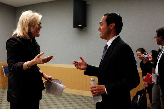 Mayor Julian Castro talks with Diane Sawyer before taping a segment with her for ABC World News at the Nascar Hall of Fame before the start of the Democratic National Convention in Charlotte, NC on Tuesday, Sept. 4, 2012. Photo: Lisa Krantz, San Antonio Express-News / San Antonio Express-News