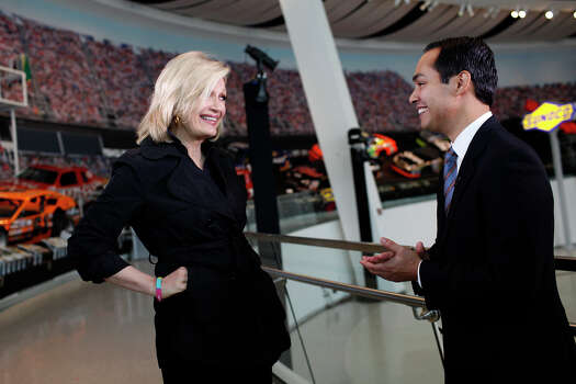 Mayor Julian Castro is interviewed by Diane Sawyer for ABC World News at the Nascar Hall of Fame before the start of the Democratic National Convention in Charlotte, NC on Tuesday, Sept. 4, 2012. Photo: Lisa Krantz, San Antonio Express-News / San Antonio Express-News