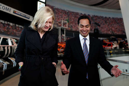 Mayor Julian Castro talks with Diane Sawyer after she interviewed him for ABC World News at the Nascar Hall of Fame before the start of the Democratic National Convention in Charlotte, NC on Tuesday, Sept. 4, 2012. Photo: Lisa Krantz, San Antonio Express-News / San Antonio Express-News