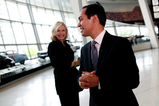 Mayor Julian Castro says goodbye to Diane Sawyer after he was  interviewed by her for ABC World News at the Nascar Hall of Fame before the start of the Democratic National Convention in Charlotte, NC on Tuesday, Sept. 4, 2012. Photo: Lisa Krantz, San Antonio Express-News / San Antonio Express-News