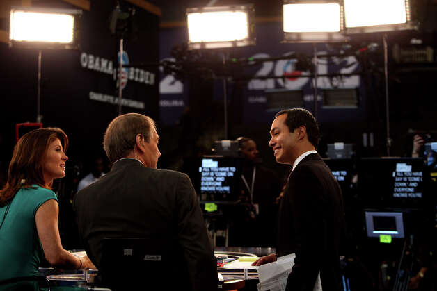 Mayor Julian Castro talks with CBS This Morning co-hosts Charlie Rose and Norah O'Donnell at Time Warner Cable Arena before the start of the Democratic National Convention in Charlotte, NC on Tuesday, Sept. 4, 2012. Photo: Lisa Krantz, San Antonio Express-News / San Antonio Express-News