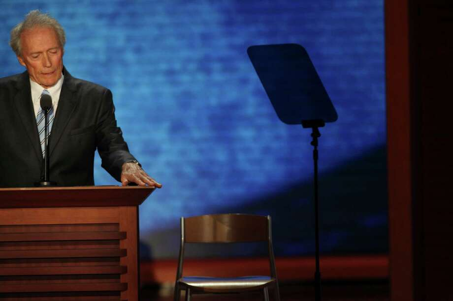 Clint Eastwood speaks to an empty chair representing President Barack Obama during the Republican National Convention at the Tampa Bay Times Forum in Tampa, Fla. His performance has made the empty chair a symbol for the president. Photo: TODD HEISLER, New York Times / NYTNS