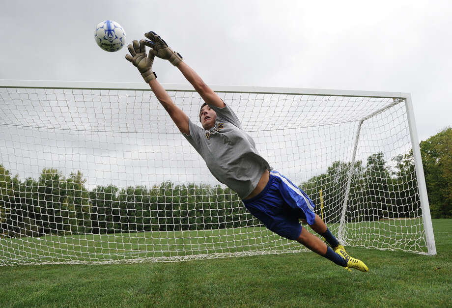 Brunswick School senior, C.J. Murphy, the goalie for the varsity soccer team, during practice at the school,Tuesday, Sept. 4, 2012. Photo: Bob Luckey / Greenwich Time
