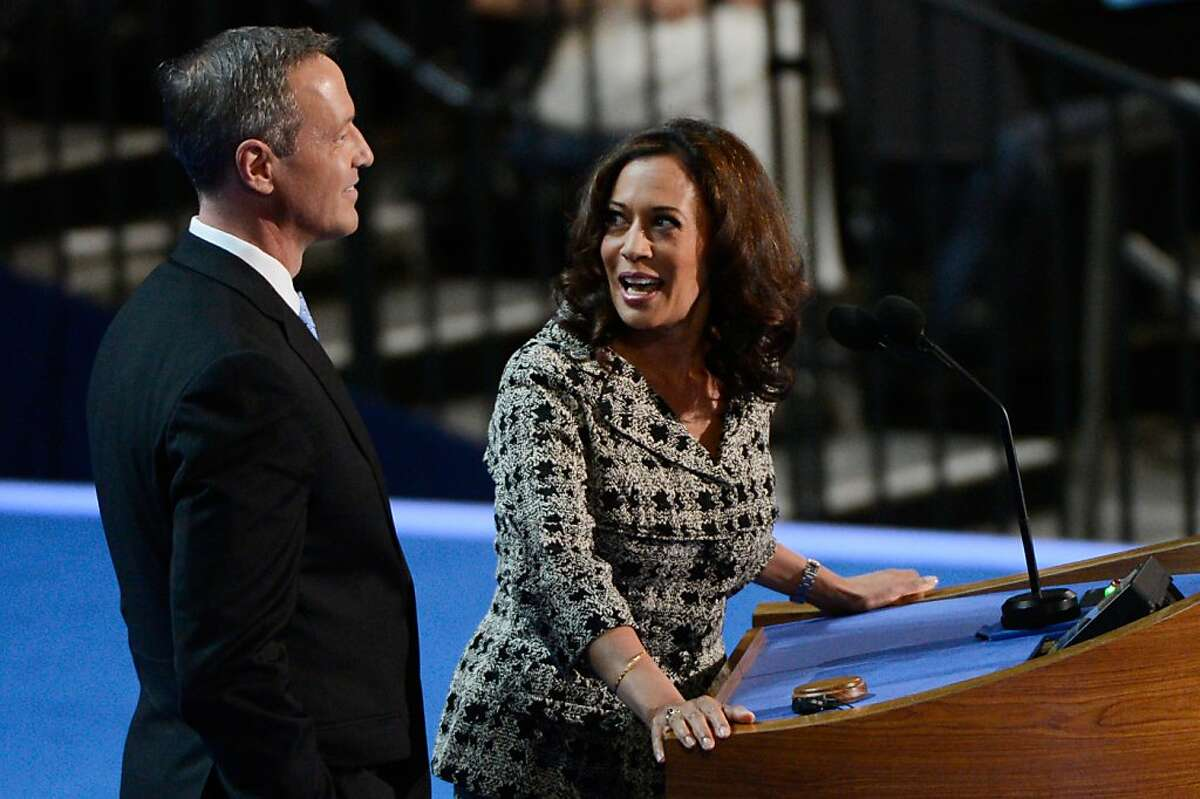 CHARLOTTE, NC - SEPTEMBER 04: Co-Chairs of the Rules Committee, California Attorney General Kamala D. Harris and Maryland Gov. Martin OÂ'Malley present the Rules Committee report during day one of the Democratic National Convention at Time Warner Cable Arena on September 4, 2012 in Charlotte, North Carolina. The DNC that will run through September 7, will nominate U.S. President Barack Obama as the Democratic presidential candidate. (Photo by Kevork Djansezian/Getty Images)