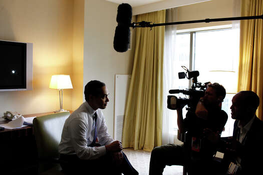 Mayor Julian Castro takes a break from rehearsing his keynote speech for an interview with ABC News in his hotel room before the start of Democratic National Convention in Charlotte, NC on Tuesday, Sept. 4, 2012. Photo: Lisa Krantz, San Antonio Express-News / San Antonio Express-News