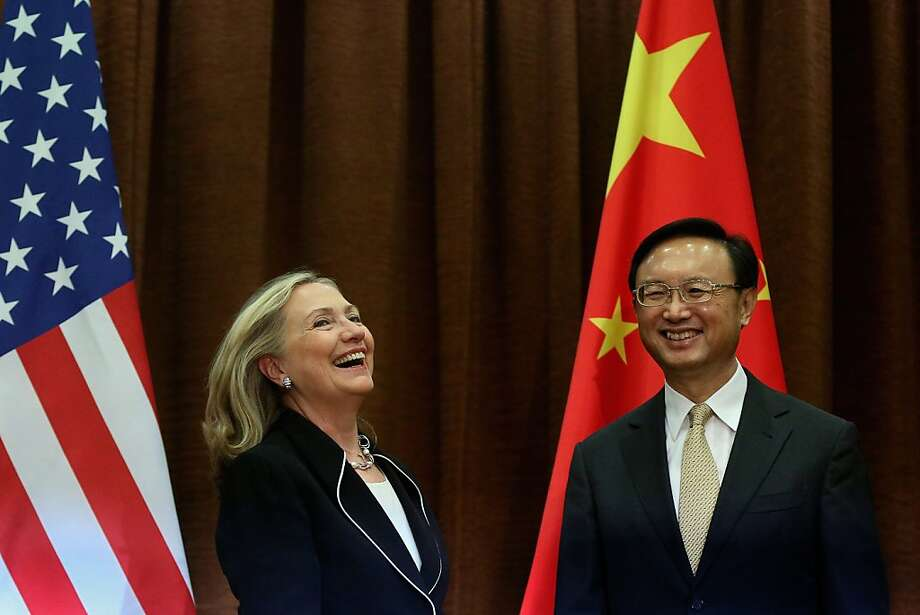 Hillary Clinton meets with Chinese Foreign Minister Yang Jeiche when she arrives in Beijing from Indonesia on her six-nation tour. Photo: Feng Li, AFP/Getty Images
