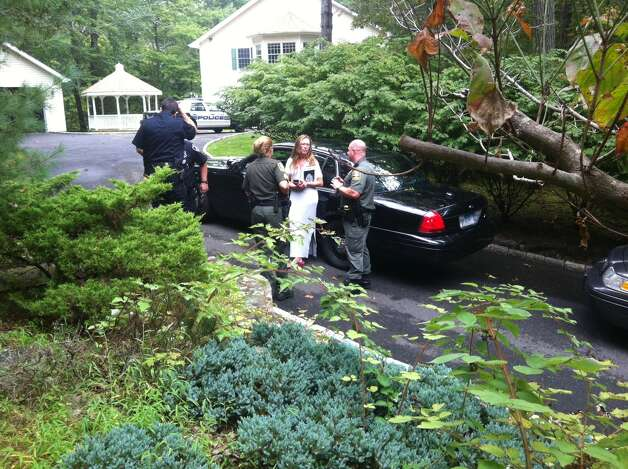 Stamford police and state envrionmental officials talk to Spring Hill Lane resident Joan Asher about a black bear sighted on her property Tuesday. Photo: Kate King