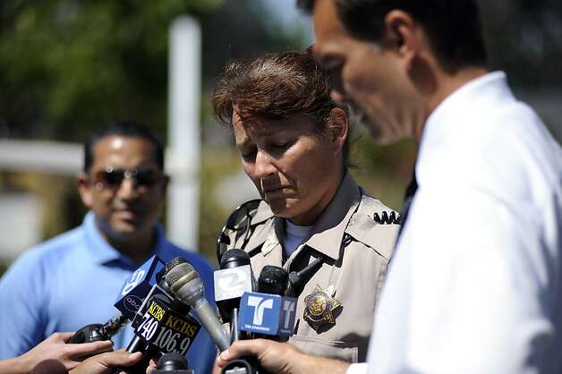 CHP Sgt. of Public Affairs Diana M. McDermott, who personaly knew the involved officer,  got a little choked up as she spoke to the media outside the hospital.  CHP officer and suspect who were shot during a shootout on 680 near Walnut Creek, have been taken to John Muir Medical Center in Walnut Creek.  Tuesday September 4th, 2012. Photo: Michael Short, Special To The Chronicle
