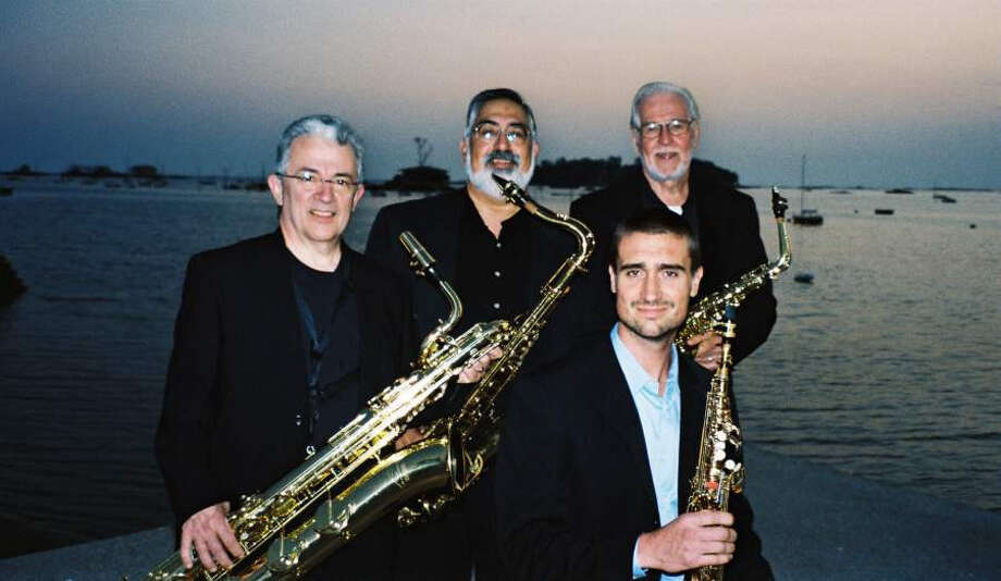 The Thimble Islands Saxophone Quartet, which features (from left) Tim Moran on baritone, Frank Vasi on tenor, David Langlais (seated) on soprano and Richard Barnes on alto, is expected to perform at the Westport Library, 20 Jesup Road, Westport, Conn., beginning at 2 p.m. on Sunday, Sept. 9, 2012. The hourlong concert is free. For more information, call 203-291-4800 or visit westportlibrary.org. Photo: Contributed Photo
