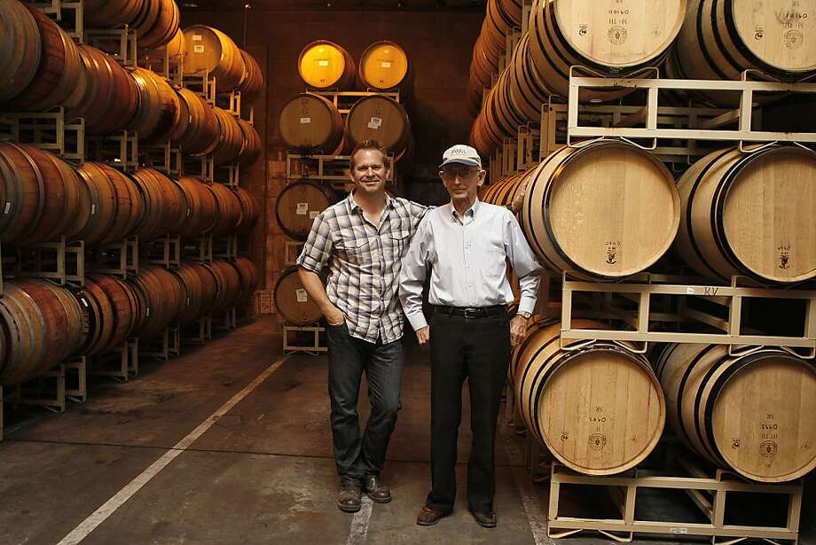 Winemaker Jason Welch (left) with Charlie Barra of Girasole. Barra has grown grapes for 57 years. Photo: Liz Hafalia, The Chronicle