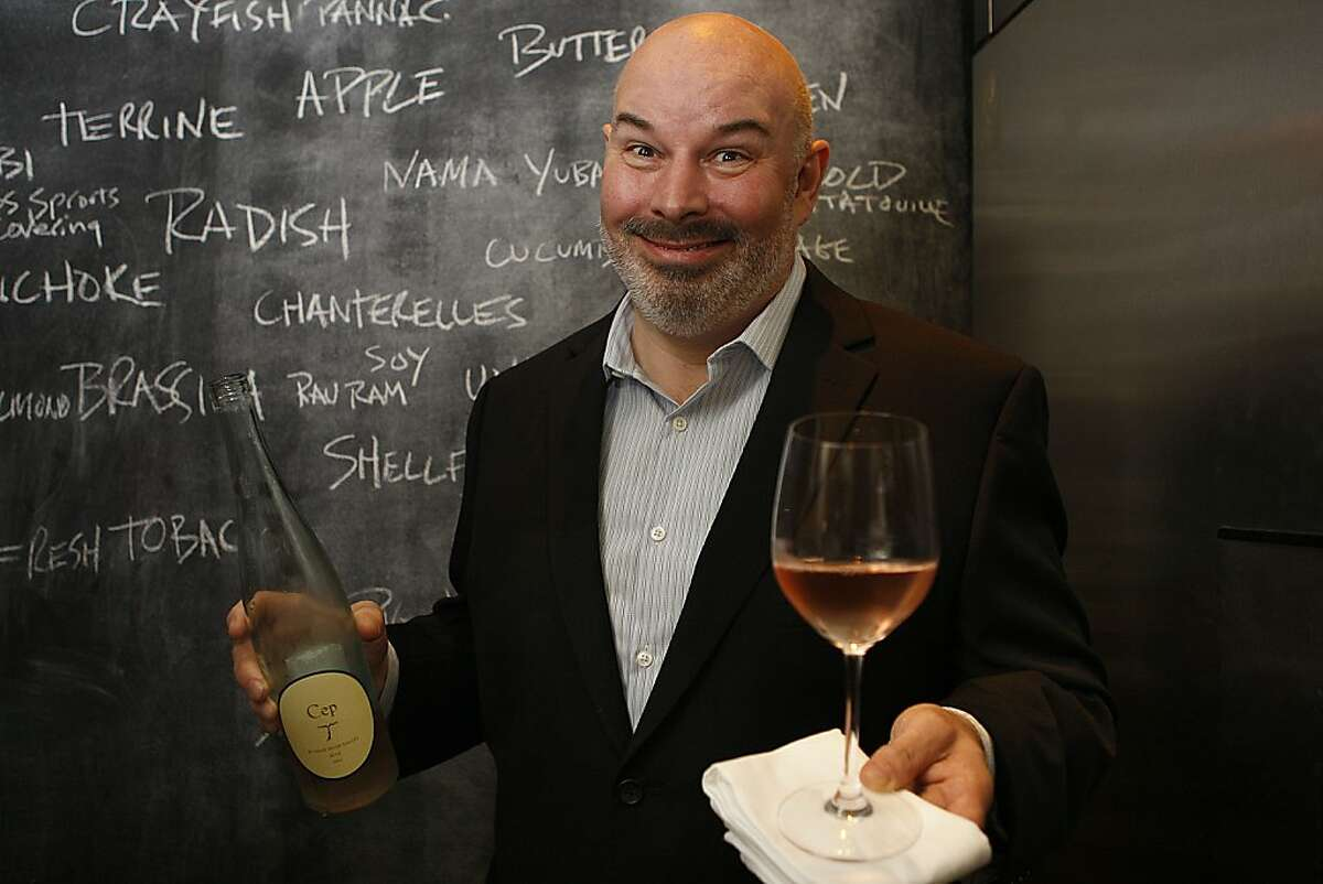 Wine director of Coi Peter Birmingham with a bottle of Cep Pinot Noir Rose, Russian River Valley, Sonoma, at Coi in San Francisco, Calif., on Wednesday, August 29, 2012.