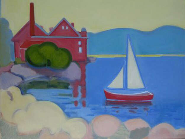 """Paint Factory Sailboat,"" an oil on linen from Norwalk resident Judith Lambertson, will be featured in a Fairfield Library show through Oct. 21. Photo: Contributed Photo"