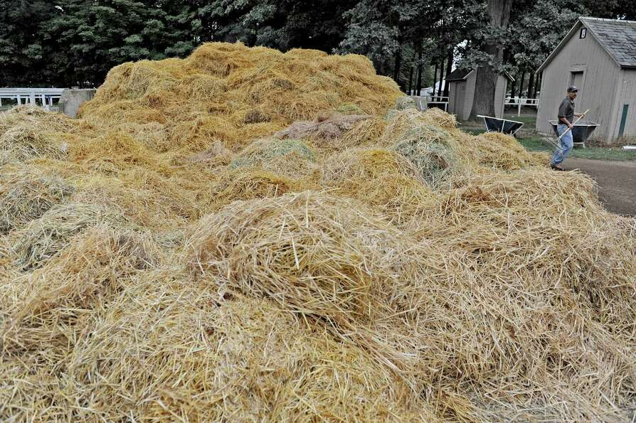 Straw used at bedding in horse stalls is pilled up as workers cleaned out the barns at the Saratoga