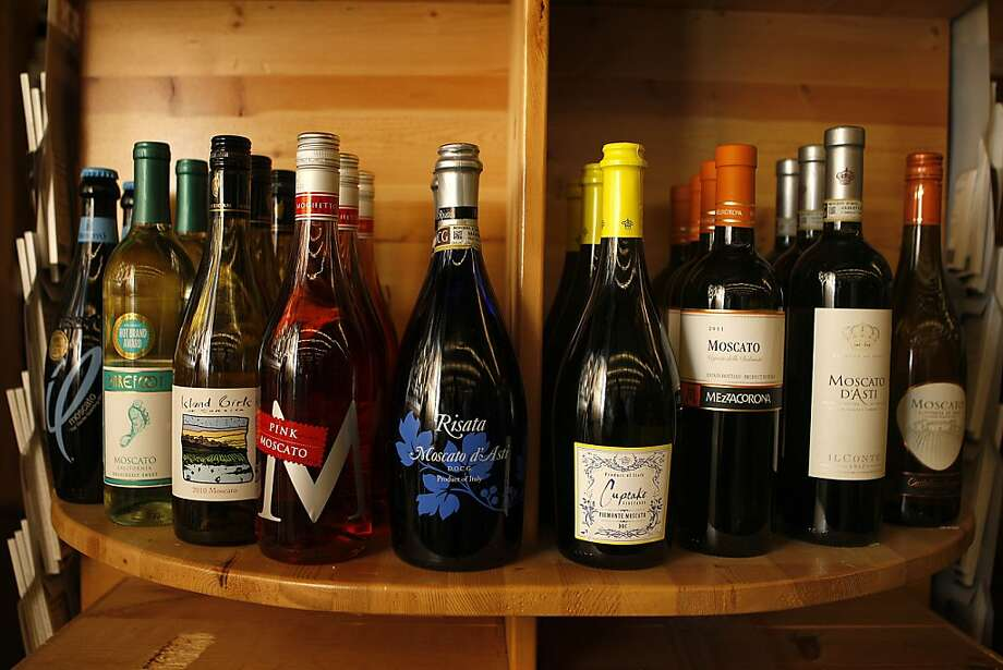 Sales of Moscato, shown at Cost Plus in San Francisco, have been boosted by younger drinkers. Photo: Liz Hafalia, The Chronicle