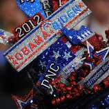 A delegate's hat at the Time Warner Cable Arena in Charlotte, North Carolina, on September 4, 2012 on the first day of the Democratic National Convention (DNC). The DNC is expected to nominate US President Barack Obama to run for a second term as president. AFP PHOTO  Robyn BECKROBYN BECK/AFP/GettyImages