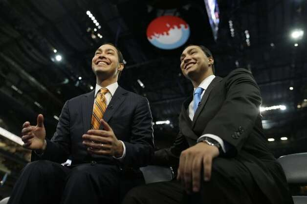 San Antonio Mayor Julian Castro, left, who will be the convention keynote speaker, and his twin brother, state Rep. Joaquin Castro, who is running for U.S. Congress, are interviewed at the Democratic National Convention in Charlotte, N.C., Monday, Sept. 3, 2012. (Charles Dharapak / Associated Press)
