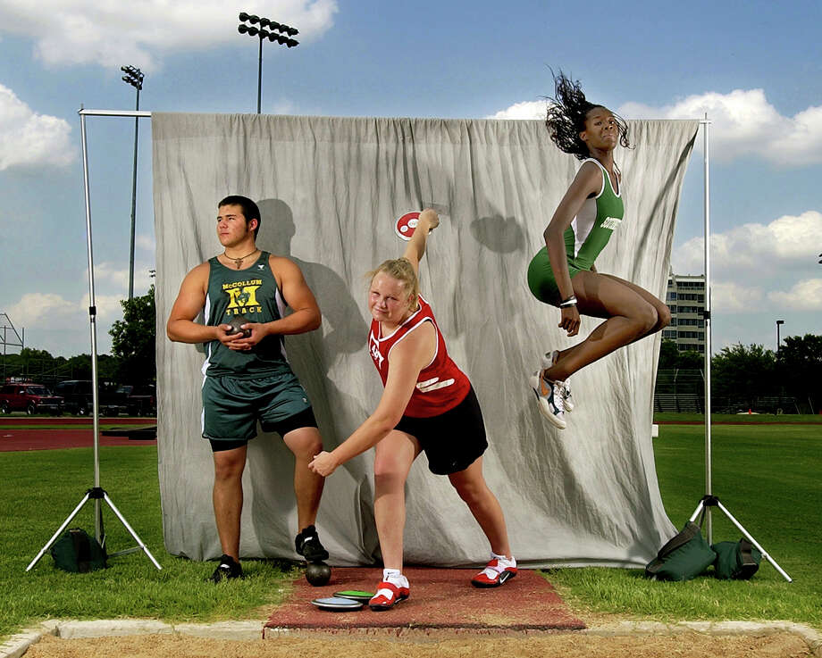 David Hernandez of McCollum, Christina Mueller of Antonian and Destinee Hooker of Southwest are the All Area Field Athletes of the Year. June 8, 2005. Photo: KEVIN GEIL, San Antonio Express-News File Photo / SAN ANTONIO EXPRESS-NEWS